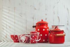 Red polka dot utensils Stock Photos