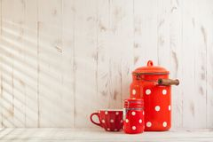 Red polka dot utensils Royalty Free Stock Image