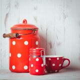 Red polka dot utensils Stock Photos