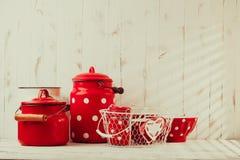 Red polka dot utensils Stock Photography