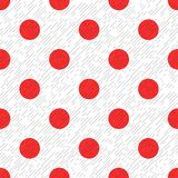 Red polka dot on a white and gray textured diagonal lines fabric seamless pattern, vector. Background Stock Illustration