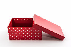 Red polka dots box, with clipping path. Royalty Free Stock Image