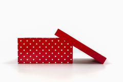 Red polka dots box, with clipping path. royalty free stock images