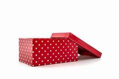 Red polka dots box,with clipping path. Royalty Free Stock Photo