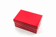 Red polka dots box . royalty free stock photos