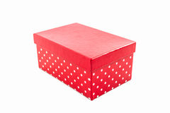 Red polka dots box. royalty free stock images