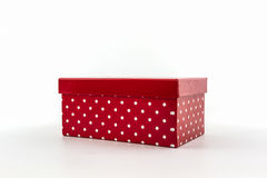 Red polka dots box. stock photos