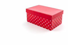 Red polka dots box on white background. Royalty Free Stock Photos
