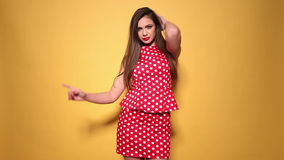 Red polka dots dress stock footage