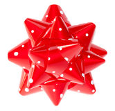 Red polka dots gift bow Stock Photo