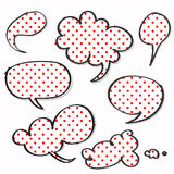 Red polka dotted on word speech Royalty Free Stock Photos
