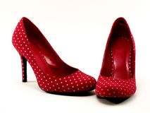 Red polkadot high heels #1 Royalty Free Stock Image
