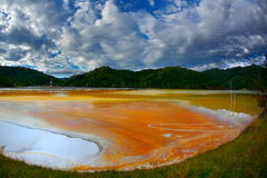 Red  polluted lake  in Romania, Geamana Royalty Free Stock Photos