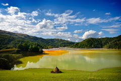 Red  polluted lake  in Romania, Geamana Royalty Free Stock Image