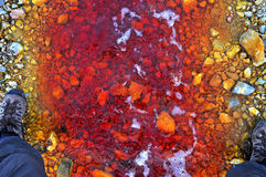 Red polluted water stream in Geamana, Romania Royalty Free Stock Images