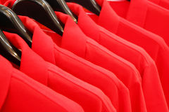 Red polo shirts. Closed up red polo shirts  in the shopping mall Royalty Free Stock Photography