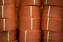 Red polyester ropes Stock Photo