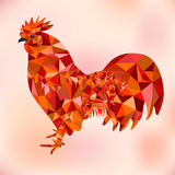 Red Polygon Bantam - Symbol of Chinese New Year. Stylized red and orange polygon rooster, cockerel or cock isolated on white background. Symbol of chinese new Stock Images