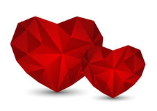 Red polygon hearts Stock Image