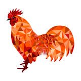 Red Polygon Rooster Royalty Free Stock Photos