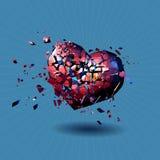 Red polygonal broken heart on blue BG Stock Photo