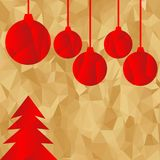 Red polygonal Christmas tree and balls on golden background. Royalty Free Stock Image