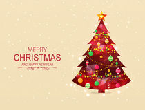 Red polygonal Christmas tree with decorations. royalty free illustration