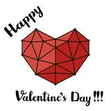 Red polygonal lines heart and hand written black brush font script, Happy Valentines Day text greeting card. Hand drawn vector. Illustration Royalty Free Stock Photo