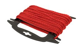 Red polypropylene rope on a plastic winder. Side view of new red polypropylene rope wound on a black plastic winder isolated on a white background Royalty Free Stock Photography