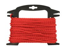 Red polypropylene rope on a plastic winder. Top view of new red polypropylene rope wound on a black plastic winder isolated on a white background Royalty Free Stock Photos