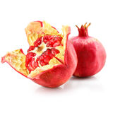 Red pomegranate fruit healthy food isolated Royalty Free Stock Images