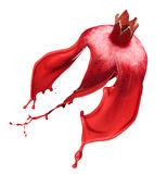Red pomegranate isolated and Ink Splashes Royalty Free Stock Image
