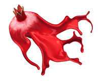 Red pomegranate isolated and Ink Splashes Royalty Free Stock Photography