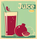 Red pomegranate juice on card background.Vector vintage illustra Stock Photo