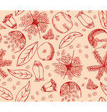 Red Pomegranate Pattern Stock Photos