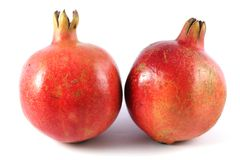2 Red Pomegranates Stock Photo