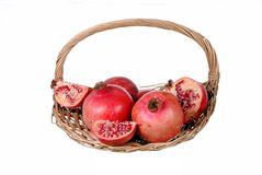 Red pomegranates in a straw basket Royalty Free Stock Image