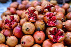 Red pomegranates on a street food market. In Agra, India Stock Photography