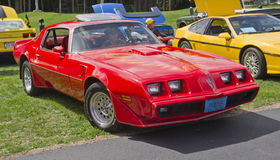 Red Pontiac Trans Am Firebird. COMBINED LOCKS, WI - AUGUST 18: A red Pontiac Trans Am Firebird classic car at the 2nd Annual Horizon of Hope Generations Car and Stock Photos