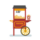 Popcorn machine flat illustration. Red popcorn machine isolated flat illustration Royalty Free Stock Photography