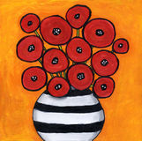 Red poppies. Painting of red poppies in funky black and white striped vase Royalty Free Stock Photos