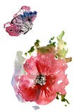 Red Poppies and a butterfly. Summer. Watercolor on white background stock illustration