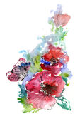 Red Poppies and a butterfly. Summer. Watercolor on white background royalty free illustration