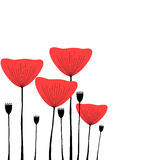 Red poppies decorative illustration Stock Photography