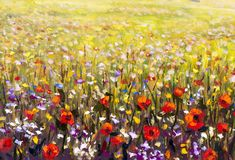 Red poppies flower field oil painting, yellow, purple and white flowers artwork. Red poppies flower field oil painting, yellow, purple and white flowers in green Royalty Free Stock Image