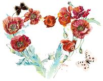 Red poppies. Flower Frame in the form of heart. Watercolor hand drawn illustration. Watercolor hand drawn illustration vector illustration