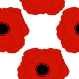 Red Poppies Flower Seamless Pattern Background Stock Photo