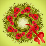 Red poppies flower wreath and ribbon with bow, circle frame. Royalty Free Stock Images