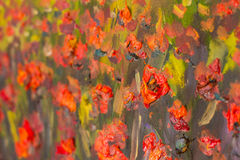 Red poppies flowers painting. Macro Close up fragment Stock Photo