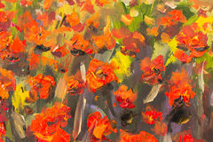 Red poppies flowers painting. Macro Close up fragment. Red poppies flowers. Close up fragment of oil painting artistic flowers image. Artistic Palette knife Stock Photos